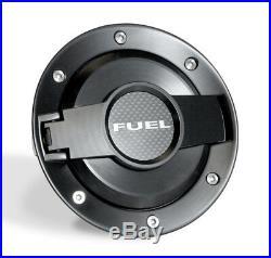 2008-2015 Challenger All Black Billet Fuel Door with Carbon Fiber FUEL Insert