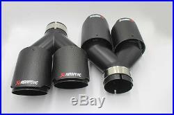 2 X Akrapovic Carbon Fiber Exhaust Tip Dual Pipe Black ID2.5 63mm OD3.5 89mm
