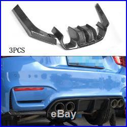 3PCS Carbon Fiber Rear Bumper Diffuser Lip Refit for BMW F80 M3 F82 M4 15-19