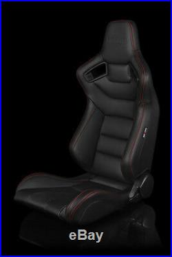 BRAUM Black Leather Carbon Fiber Mix ELITE Racing Seats with Red Stitch Pair