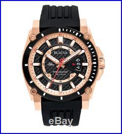Bulova Precisionist Men's 98B152 Champlain Quartz Black Rubber Strap 44mm Watch