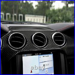 Fit For Ford Mustang 2015-2019 Carbon Fiber Interior Dashboard Panel Cover Trim