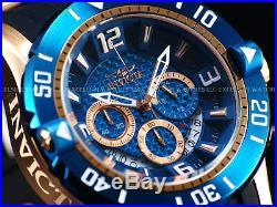 Invicta Men 50mm Pro Diver Blue Carbon Fiber Dial Chrono 18K Rose Gold SS Watch