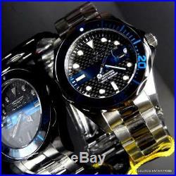 Mens Invicta Thin Blue Line Pro Diver Black Carbon Fiber Steel 14702 Watch New