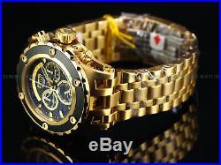 NEW Invicta Reserve 52mm SAS Swiss Retro Chrono 18KGIP Black Dial Bracelet Watch