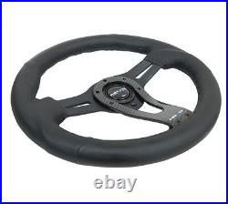 NEW NRG Steering Wheel Black Leather with Real Carbon Fiber Face 320MM RST-002RCF