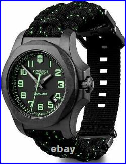 New Victorinox INOX Carbon Black Dial Paracord Style Men's Watch 241859