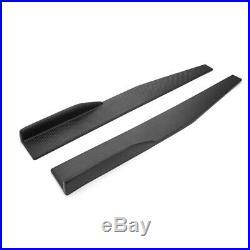 Pair 74.5cm Car Carbon Fiber Side Skirts Rocker Splitters Diffuser Winglet Wings