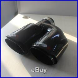 R + L Pair Carbon Fiber Exhaust Tip Dual Pipe ID2.5 63mm OD3.5 89mm + LOGO