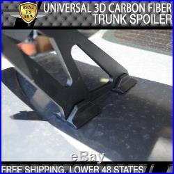 Universal 57 Inch 3D Carbon Fiber CF Rear GT Trunk Spoiler Wing Adjustable Deck